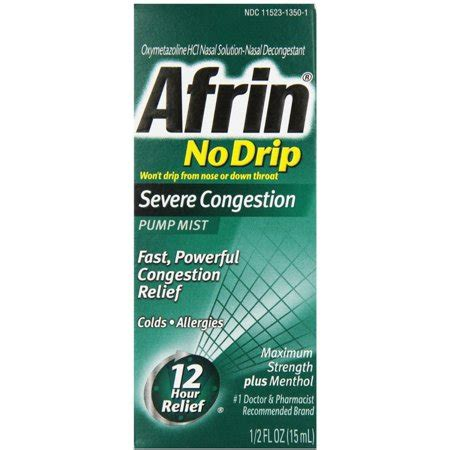Afrin No Drip Severe Congestion Pump Mist 15 mL (Pack of 2
