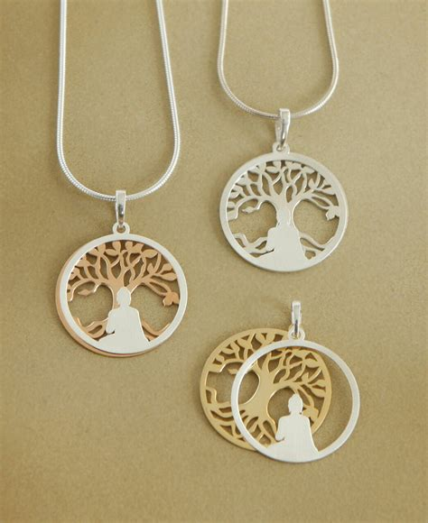 Buddha and the Bodhi Tree, Layered Sterling Silver Pendant