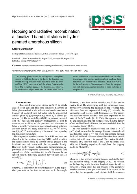 (PDF) Hopping and radiative recombination at localized